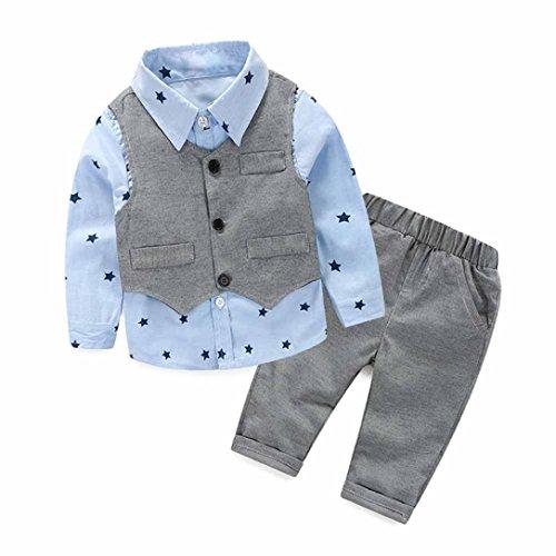 FEITONG 3pcs Newborn Baby Boy Grey Waistcoat+ Long Pants+ Shirts Set (2T / 2Years)