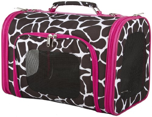 Pink Trim Giraffe Dog Cat Soft-sided Pet Carrier Medium, 16-inch