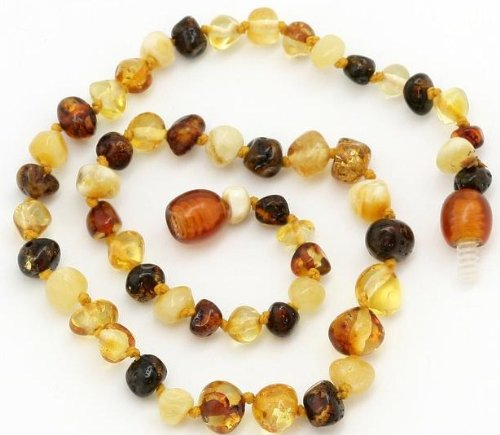 "Details for The Original Art of CureTM *SAFETY KNOTTED* Multi Colored Round - Genuine Baltic Amber Baby Teething Necklace - w/""The Art of Cure"" Jewelry Pouch by The Art of Cure"