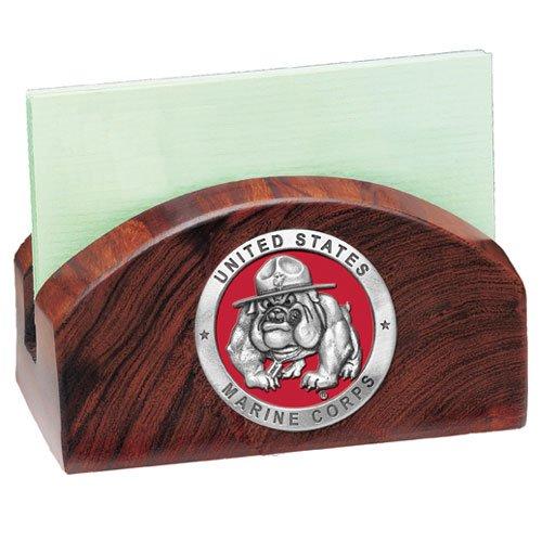 USMC Bulldog Ironwood Business Card Holder
