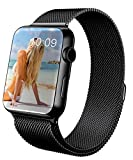 GEOTEL® Apple Watch Band 38mm, Milanese Loop Stainless Steel Bracelet Strap Band for Apple Watch 38mm All Models with Unique Magnet Lock(No Buckle Needed) (Black)
