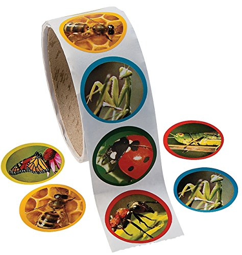 Fun Express 1 Roll Realistic Bug/Insect Stickers (100 Piece), 1.5""