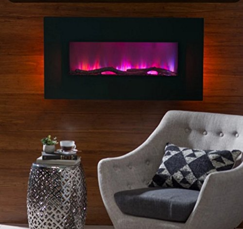 Electric Fireplace Wall Mount,Wall Heater 42 in. LED Wall Fireplace , Color Black, 10 Flame-Warm Up Any Decor With Realistic LED Flames That Flicker And Dance. (White Wallmount Fireplace compare prices)