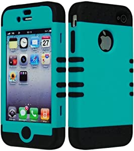 Bastex Hybrid Tuff Case for Apple Iphone 4, 4s- Black Silicone with Teal Sky Blue Shell by Bastex