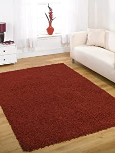 "Large Quality Shaggy Rug in Red 120 x 160 cm (4' x 5'3"") Carpet by Lord of Rugs"