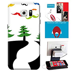 KanvasCases Printed Back Cover For Samsung Galaxy S7 + Earphone Cable Organizer + Mobile Charging Holder/Stand