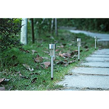 EcoCity Solar Lights Outdoor Garden Light Landscape / Pathway Lights Stainless Steel-12 Pack