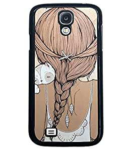 Fuson Cute Kitty Girl Back Case Cover for SAMSUNG GALAXY S4 - D3898