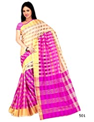 Winza New & Latest Printed Cotton With Zari Stripes Wedding Party Wear Saree For Ladies Girls