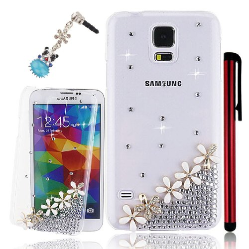 Ancerson White Golden Daisy Blossom 3D Handmade Luxury Shining Glitter Crystal Diamond Rhinestones Hard Back Case Cover For Samsung Galaxy S5/ Gs 5 V I9600 G900A G900P G900V G900T Free With A Red Stylus Touchscreen Pen And A 3.5Mm Universal Lovely Silvery