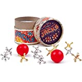 Ridley's Jacks: New Vintage, Retro, Classic Game of Jacks or Onesies with High Quality Gold & Silver Toned Jacks, Two Red Bouncy Balls & Full Set of Instructions, Fun for Kids and Adults of All Ages