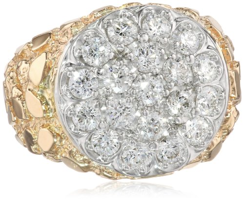 Men'S 10K Two-Tone Gold With Nugget Side Accent Diamond Cluster Ring (2.00 Cttw, H-I Color, I1-I2 Clarity), Size 9