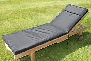 coussin pour mobilier de jardin coussin pour chaise longue de jardin coloris noir. Black Bedroom Furniture Sets. Home Design Ideas