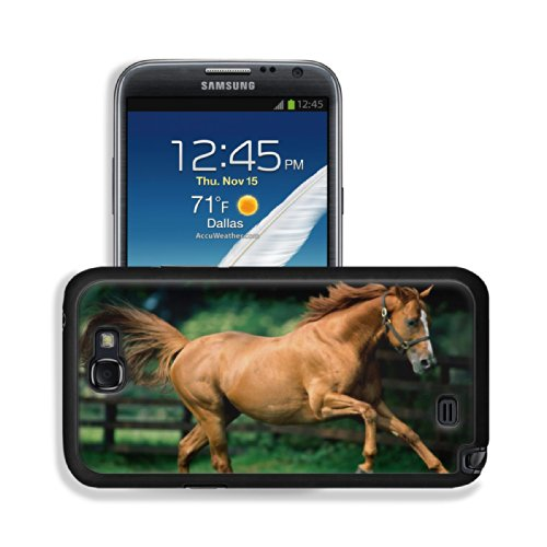Brown Horse Gallop Wind Fence Animal Samsung Galaxy Note 2 Snap Cover Case Premium Leather Customized Made To Order Support Ready 6 Inch (152Mm) X 3 2/8 Inch (82Mm) X 4/8 Inch (13Mm) Luxlady Galaxy_Note_2 Professional Cases Touch Accessories Graphic Cover
