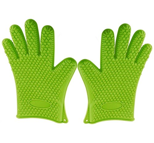 Green Heat Resistant Silicone Gloves - Great for Use In Kitchen Handling All High Temperature Food - Potholder - Protective