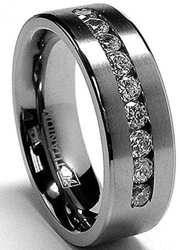 8 MM Men's Titanium ring wedding band with 9 large Channel Set CZ size 10.5