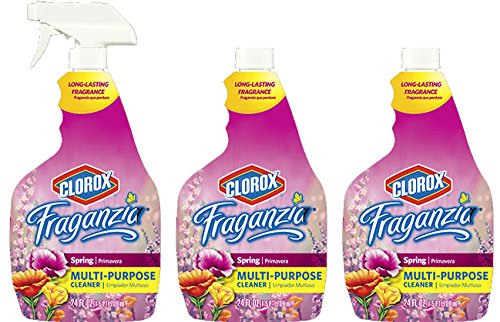 Clorox Fraganzia Multi-Purpose Cleaning Spray, Three 24 Fluid Ounce Bottles (72 fl oz total) Plus One Premium Trigger