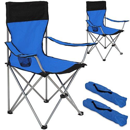 TecTake-2er-Set-Campingstuhl-Anglersessel-blauschwarz-wasserabweisend-mit-Getrnkehalter-inkl-Tragetasche-Regiestuhl