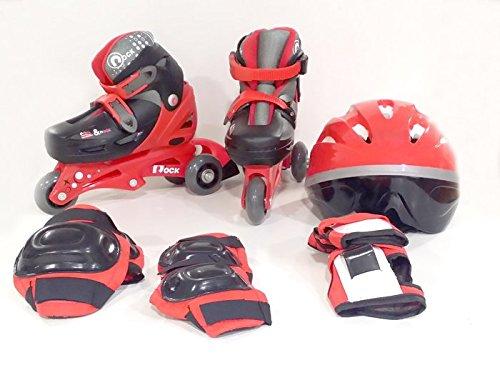 PATTINI ROLLER 34/37 BOY RED ZAINETTO,CASCO,PROTEZIONI ITN GW069HB01G3 (bag,helmet,protections)