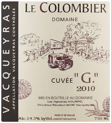 2010 Domaine Le Colombier Vacqueyras Cuvee G Rhône Valley Red Wine 750 Ml