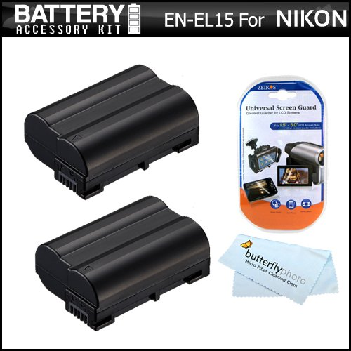 2 Pack Battery Kit For Nikon D7000, D600, D800, D800E DSLR and Nikon 1 V1 Digital Camera Includes 2 Extended Replacement (2200Mah) EN-EL15 Batteries (FULLY DECODED!!) + LCD Screen Protectors + MicroFiber Cleaning Coth. Battery Shows time on LCD!