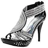 Fabulous Women's Delicacy-07 Platform Sandals, Black Pu, 10