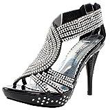 Fabulous Women's Delicacy-07 Platform Sandals, Black Pu, 7
