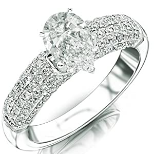1.15 Carat Pear Cut / Shape 14K White Gold Contemporary Five Row Modern Pave Diamond Engagement Ring ( G-H Color , SI1 Clarity )