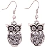 Yazilind Tibetan Silver Antique Latticed Pattern Owl Ear Wire Hook Dangle Animal Earrings