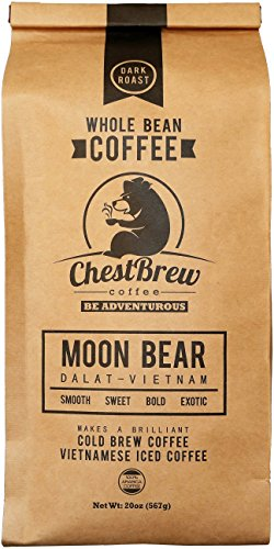 ChestBrew Whole Bean Coffee. Strong Dark Roast Vietnamese Coffee - Moon Bear Premium 20 Ounce Bag (Coffee Bean French Brew Pods compare prices)