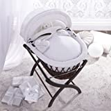 Izziwotnot White Premium Gift Wicker Moses Basket, Dark