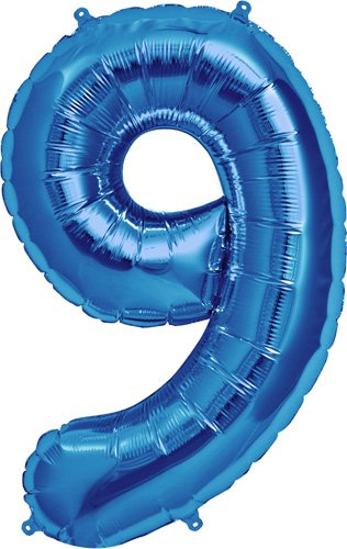 Number 9 - Blue Helium Foil Balloon - 34 inch