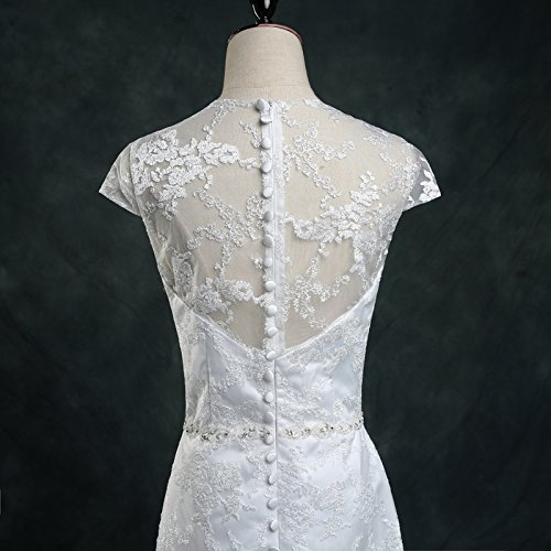 Vintage Lace Country Wedding Dresses Cap Sleeve Sheer Boho A line Bridal Gowns 5