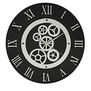 Round black glass wall clock with mirror pattern dial for Black glass wall clock