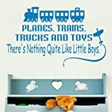 Planes Trains Trucks -Vinyl Wall Decal / Large Interior Wall Decor Quote X90