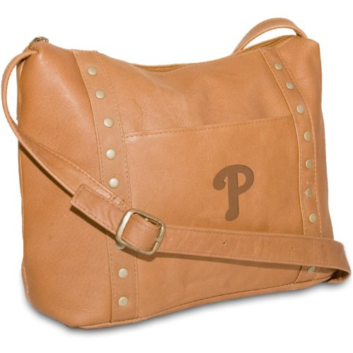 MLB Tan Leather Women's Top Zip Handbag