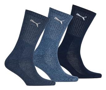 Des hommes et des femmes 3 paires de chaussettes de sport Puma en 3 couleurs - 12-14 Unisex - Marine