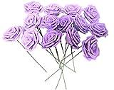 バラ 造花 50個 茎付き 8cm セット 手作り アレンジメント 結婚式 パーティー お祝い に(紫)