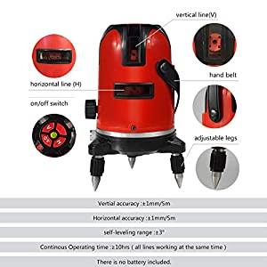 BEESCLOVER 5 Lines 6 Points Level Automatic Self Leveling 360 Vertical&Horizontal Tilt Degrees Rotary LD 635nm Outdoor Mode Level Machine AU Plug for ce (Color: Level machine-AU plug)