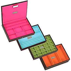 STACKERS Set of 4 'CLASSIC SIZE' - Choc Brown STACKER Set of 4 Jewellery Box with Brights Multi-Colour Lining