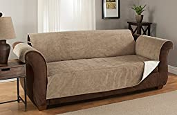 GPD (Sofa) Heavy-Weight Luxury Textured Microsuede Pebbles Furniture Protector and Slipcover with Anti-slip Non-slip Backing (Natural, Sofa)---Water-repellant