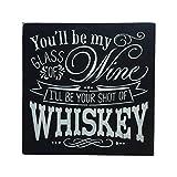 Handpainted Wood Sign Whiskey & Wine