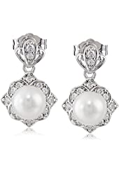 Platinum-Plated Sterling Silver Cubic Zirconia Freshwater Cultured Pearl with White Dangle Earrings