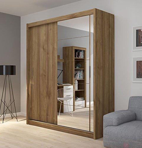 FADO large mirrored 2 door wardrobe closet with sliding doors mirror shelves hanging clothes rail bedroom hallway furniture