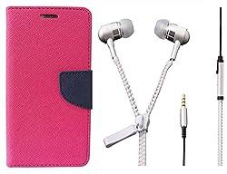 Novo Style Book Style Folio Wallet Case MotorolaMoto E Pink + Zipper Earphones/Hands free With Mic 3.5mm jack