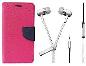 Novo Style Book Style Folio Wallet Case Xiaomi Mi 4i Pink + Zipper Earphones/Hands free With Mic 3.5mm jack