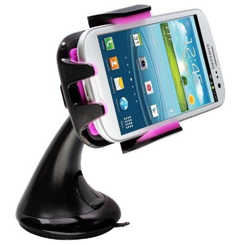 Intek I-Touch Button Car Windshield & Dashboard Mount for Iphone 4/4s/5/5c/5s, Galaxy S4/s3/s2, Galaxy Note 1/2/3 HTC One,/one X, Droid Razr Maxx, Google Nexus, Lg Optimus - Retail Packaging (Purple)