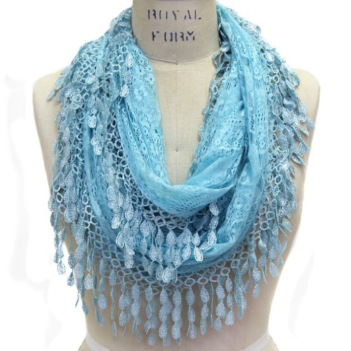 Scarfand Women's Lace Infinity with Fringe