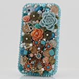 3D Swarovski Diamond Blue Flower Crystal Bling Case Cover faceplate for iphone 4 4S AT&T Verizon & Sprint (Handcrafted by BlingAngels)