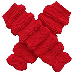 Ruched Ruffle Solid Color Leg Warmers - One Size Infant, Baby, Toddler, Little Girl (Ruched Thick Red)